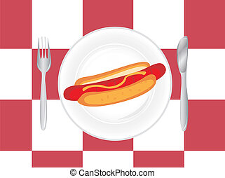 place setting with hot dog