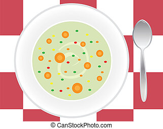 place setting with soup