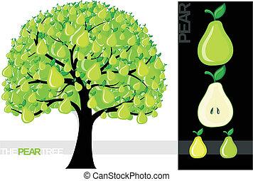 pear tree - Illustration of a cartoon lemon tree isolated on...