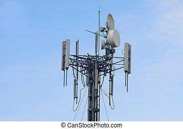 telecom transmitter on blue sky