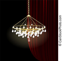 crystal luster - against the dark-red curtain is crystal...
