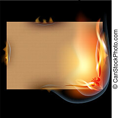 burning sheet of paper - on a black background is the...