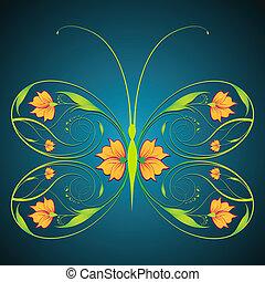 blommig, fjäril
