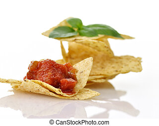 tortilla chips - Corn tortilla chips with salsa on white...