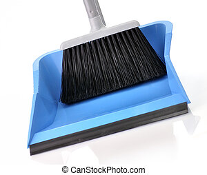 plastic broom with dustpan , close up on white background