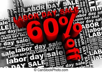 60% off - conceptual banner for the labor day sale