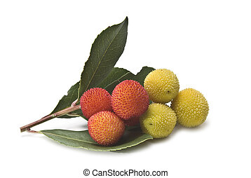 Fresh arbutus. - Fresh arbutus fruits isolated over a white...