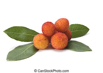 Fresh ripe arbutus - Fresh arbutus fruits isolated over a...