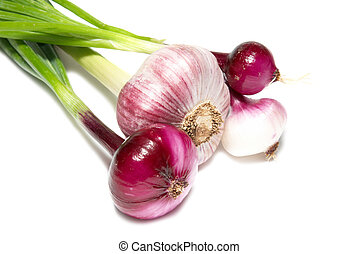 Bunch of young onions isolated on white