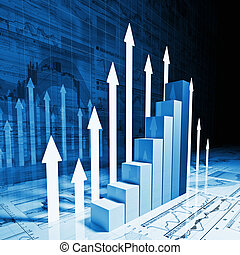 financial chart - fine 3d image of business graph with white...