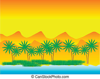 Oasis in the desert with palm trees - vector