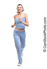woman running isolated on white - woman running isolated on...