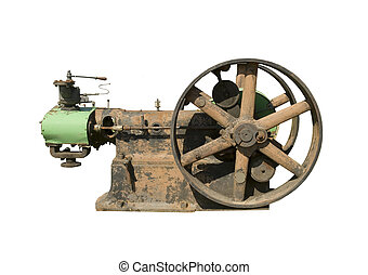 part of old stationary steam engine on a white background