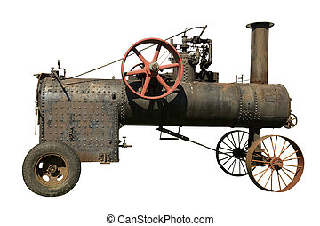 part of old steam tractor on a white background
