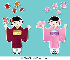 cute japanese girls - Japanese girls in kimonos of autumn...