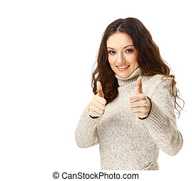 woman smiling with her thumbs up - isolated on white...