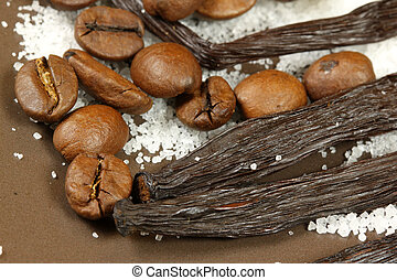 Coffee beans and whole vanilla