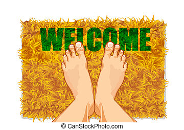 Feet on Door Mat - illustration of pair of feet on door mat...