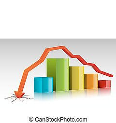 Crashed Bar Graph - illustration of bar graph with arrow...