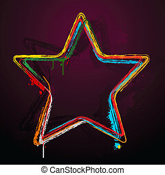 Star Background - illustration of grungy star on abstract...