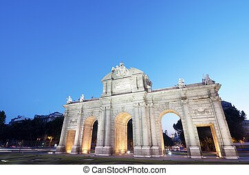Alcala - night view of the famous Puerta de Alcala, Madrid,...