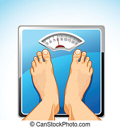 Feet on Weighing Machine - illustration of feet on weighing...