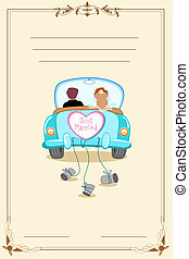 Wedding Card - illustration of just married couple in...