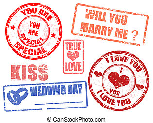 wedding stamps - Collection of wedding postage stamps,...