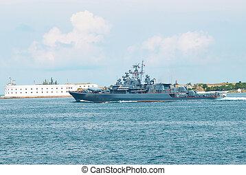 Russian warship - Russian navy warship in the Black sea bay