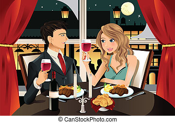 Couple in restaurant - A vector illustration of a young...