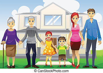 Multi generation family - A vector illustration of a multi...