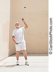 3º edad, hombre, juegos,  Racquetball