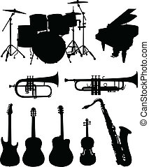 Musical instruments silhouettes collection - vector