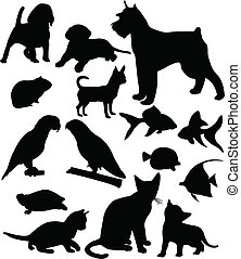 Pets silhouettes collection - vector