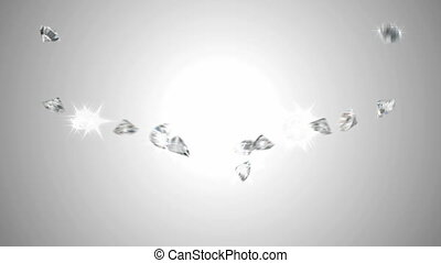 Large sparkling diamonds flow