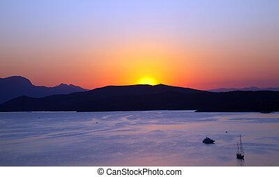 Sunset over Aegean sea, Greece, 2009