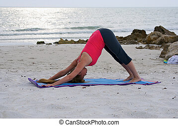 an athletic brown haired woman is doing yoga exercise...