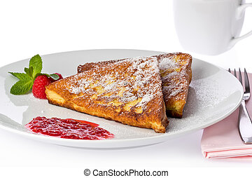 French Toast - Two slices of french toast with a raspberry...