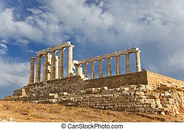 ruínas, Poseidon, Templo, Grécia