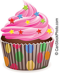 pink cupcake - vector pink cupcake with sprinkles