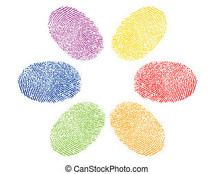 finger prints in various colors