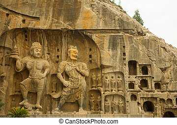Large Longmen Grottoes Buddhist Carvings - Large Buddhist...