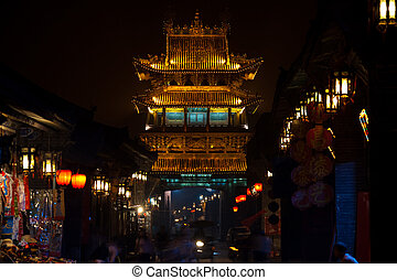 Pingyao Pagoda Gateway Street Scene - Long exposure of a...