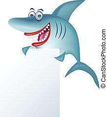 Shark cartoon and blank sign