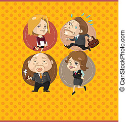 cartoon office worker card