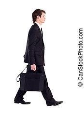 businessman with briefcase walking, isolated on white
