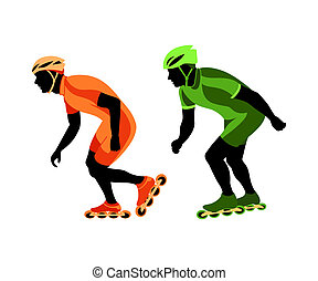 Speed skating - Roller skater silhouettes at the race