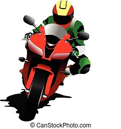 Biker on the road. Vector illustration