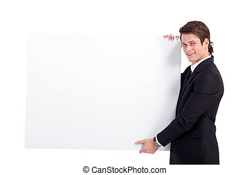 businessman holding a white board - young businessman...