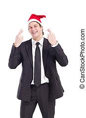 homem negócios, chapéu, Natal